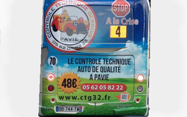 Arrière de bus par FreeCom pour CTG32 à Pavie